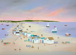 Escape to the Huts by Lucy Young - Original Painting on Stretched Canvas sized 39x29 inches. Available from Whitewall Galleries